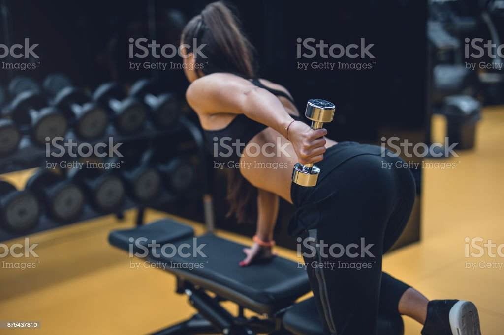 Back view of female doing stock photo