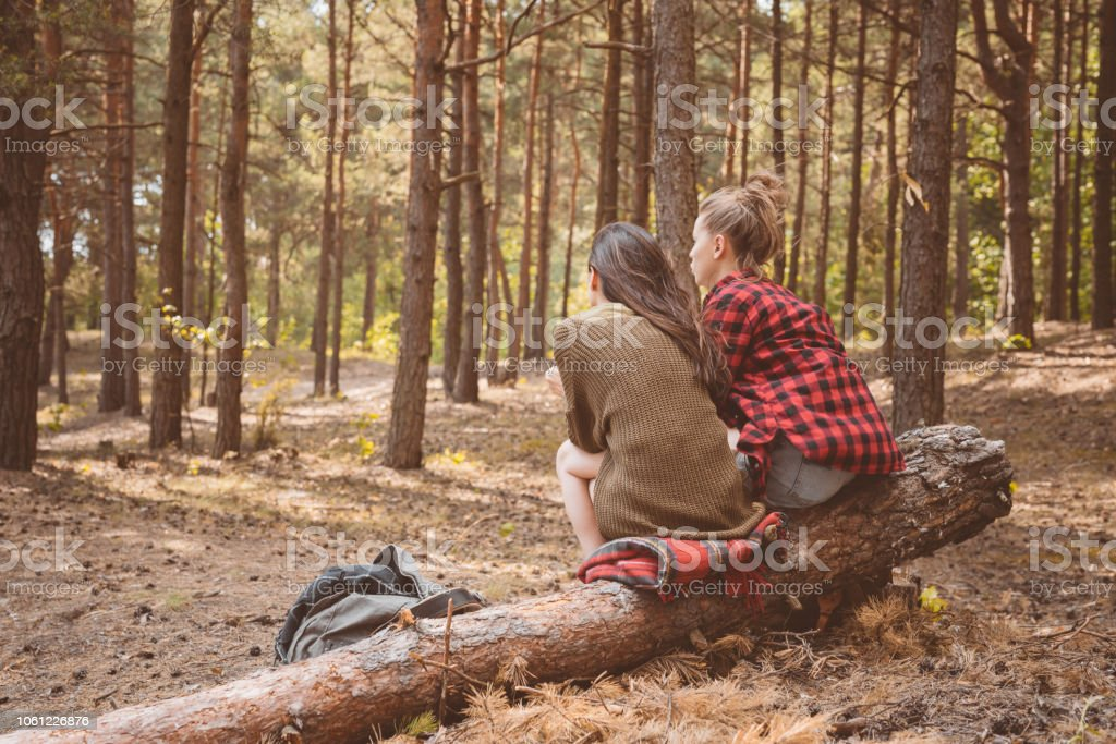 Back view of female friends resting in the forest Outdoor shot of two young women having picnic in the forest, sitting on the fallen tree. Back view. Adolescence Stock Photo