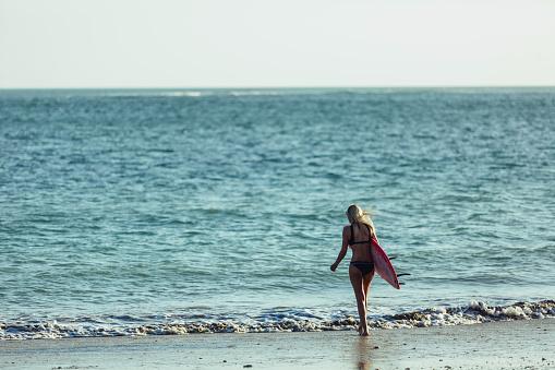 Arkadan Görünüşü Kadın Sörfçü Okyanusa Sahilde Yürüyüş Surfboard Ile Stok Fotoğraflar & Arka görünüm'nin Daha Fazla Resimleri