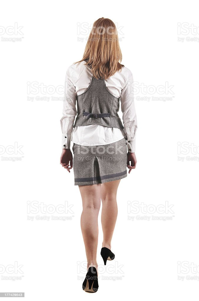 back view of going blonde woman  in  dress royalty-free stock photo