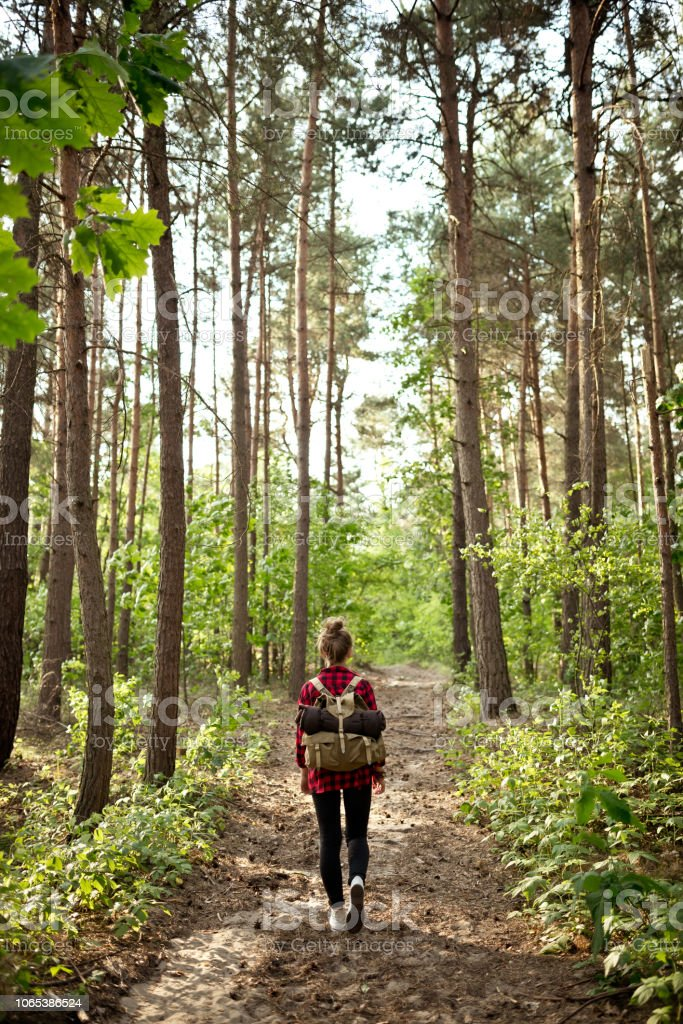 Back view of hipster girl walking in the forest Outdoor shot of young woman hiking in the woodland, holding backpacks. Adolescence Stock Photo