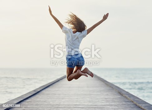 istock Back view of jumping girl on the pier 605763388