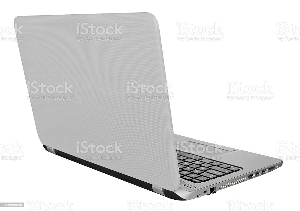 back view of laptop with with open display stock photo