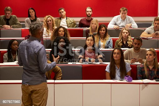 istock Back view of man presenting to students at a lecture 607927560