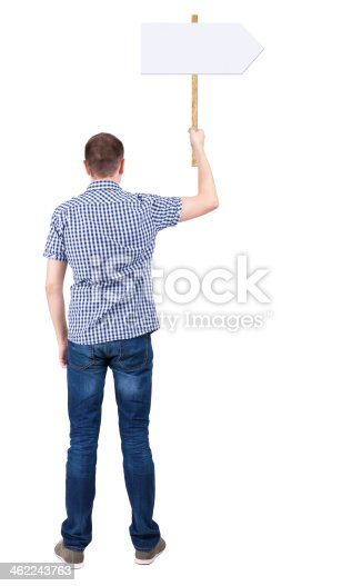 istock Back view  of man showing a sign board. 462243763