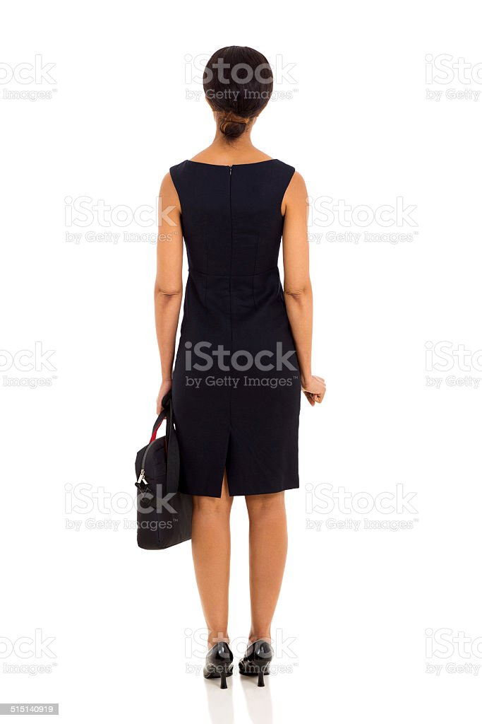 back view of middle aged businesswoman stock photo