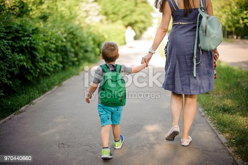 istock Back view of mother walking down the street with a little son with a backpack on sunny day 970440660