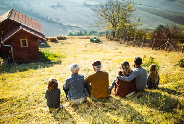 Bir tepenin manzarasına bakan çok nesilli bir ailenin arka görünümü. stok fotoğrafı