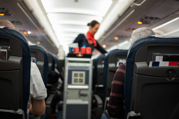 Back view of passengers traveling by airplane. Rear view of people flying in the airplane with flight attendant serving refreshment. cabin crew stock pictures, royalty-free photos & images