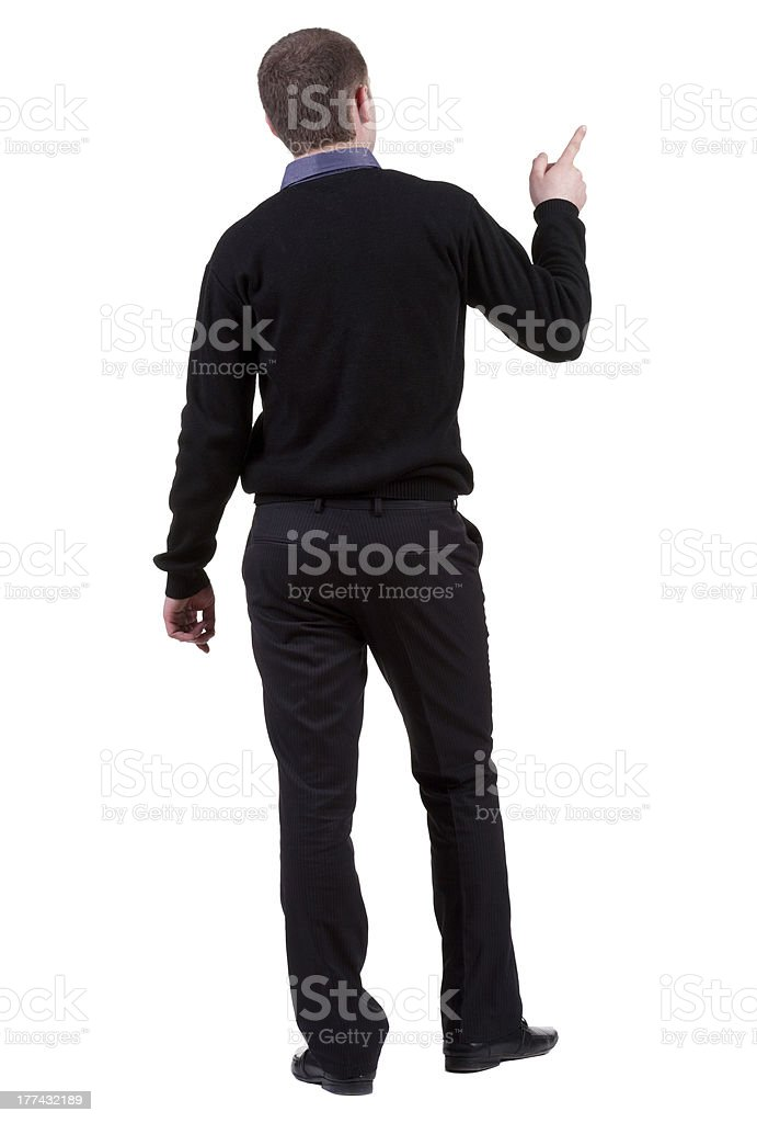 Back view of pointing business man. royalty-free stock photo