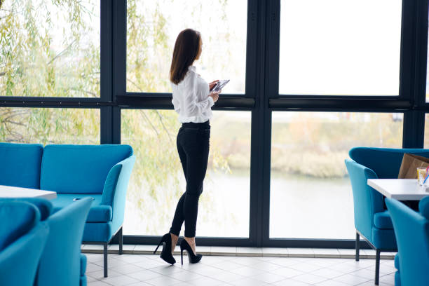 Back view of professional elegantly dressed administrative manager looking at window while organizing working process in cafe interior; rear view of slim business woman on high heels standing near sofa stock photo
