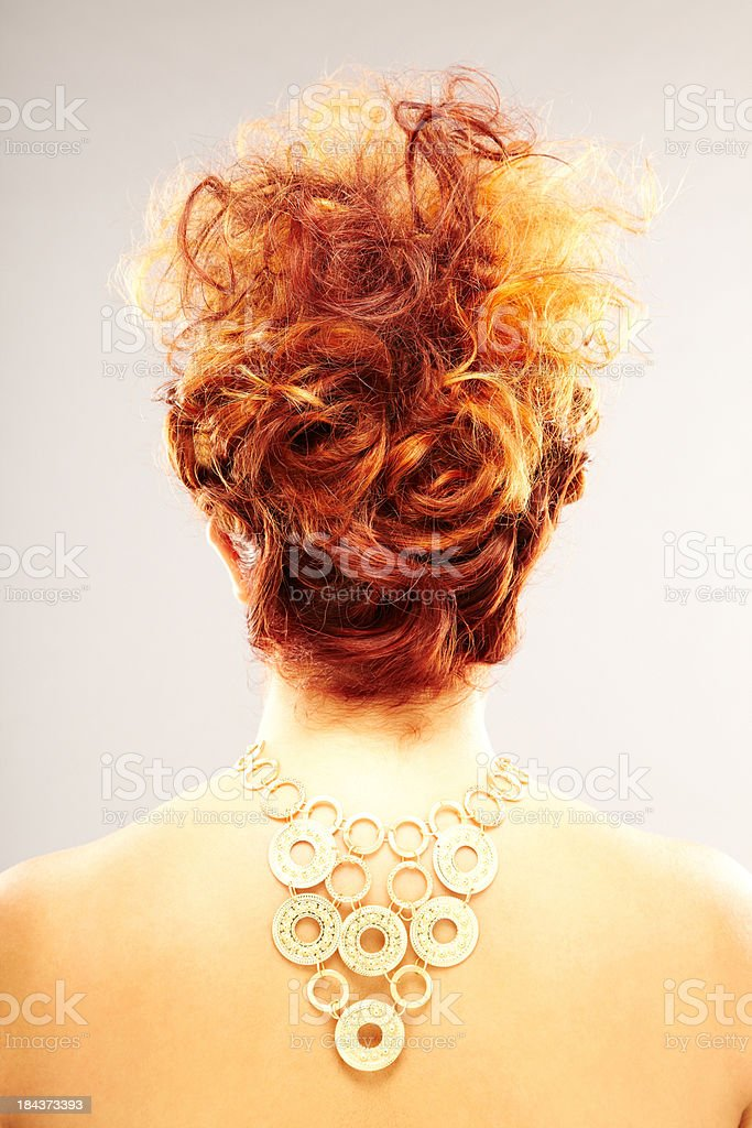 Back View of Red-Headed Female Model royalty-free stock photo