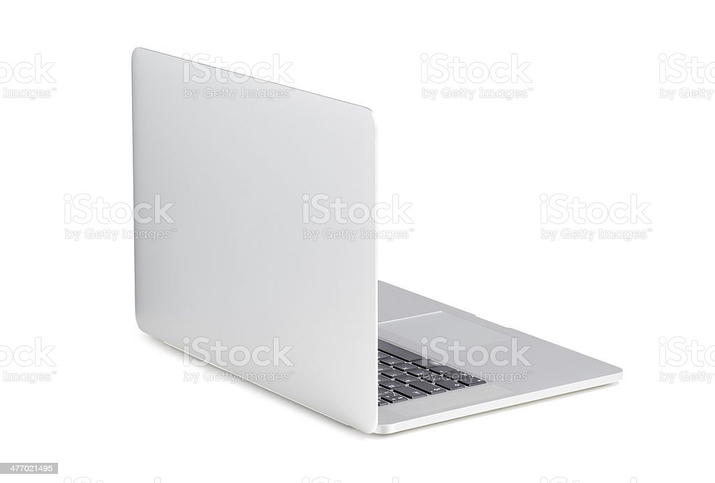 Back view of rotated at slight angle modern laptop stock photo