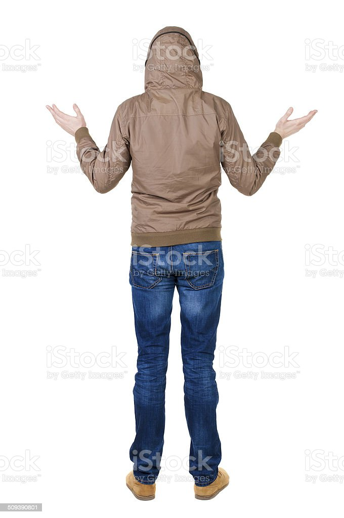 Back view of shocked man in  windcheater. stock photo