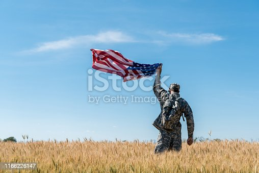 back view of soldier in military uniform standing in field with golden wheat and holding american flag