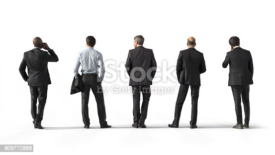 istock Back view of standing business men. Illustration on white background, 3d rendering isolated. 909772888