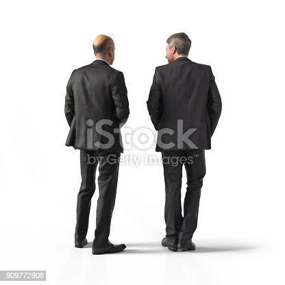 istock Back view of standing business men. Illustration on white background, 3d rendering isolated. 909772908