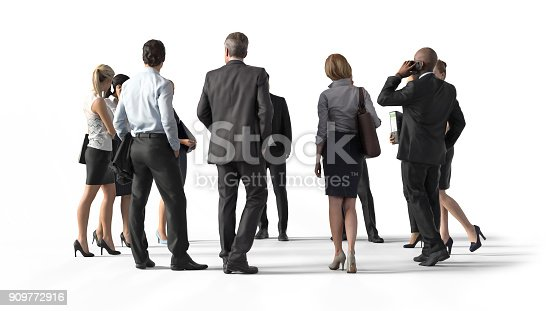 istock Back view of standing business people. Illustration on white background, 3d rendering isolated. 909772916