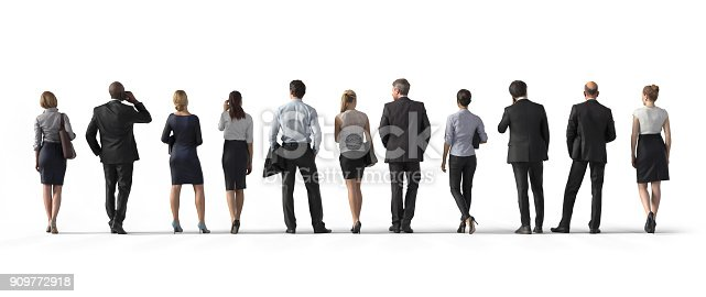 istock Back view of standing business people. Illustration on white background, 3d rendering isolated. 909772918
