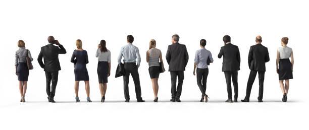 widok z tyłu stojących ludzi biznesu. ilustracja na białym tle, renderowanie 3d izolowane. - plecy zdjęcia i obrazy z banku zdjęć