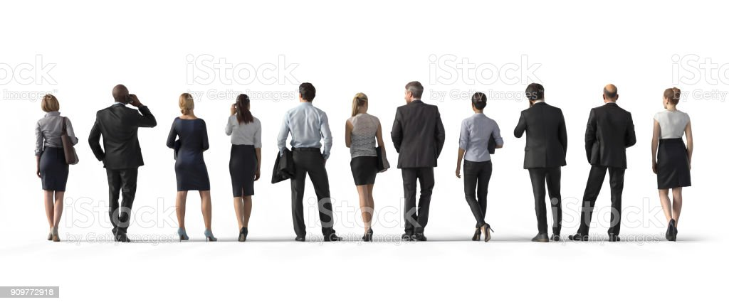 Back view of standing business people. Illustration on white background, 3d rendering isolated. stock photo