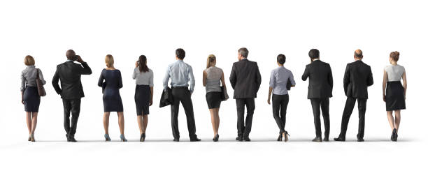 back view of standing business people. illustration on white background, 3d rendering isolated. - back stock pictures, royalty-free photos & images