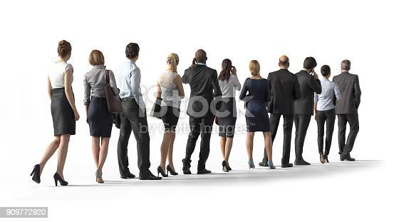 istock Back view of standing business people. Illustration on white background, 3d rendering isolated. 909772920