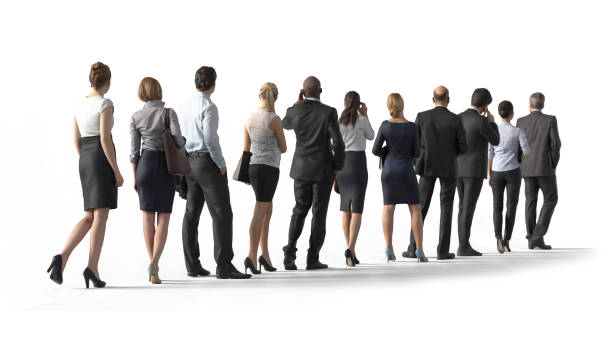 back view of standing business people. illustration on white background, 3d rendering isolated. - queue foto e immagini stock