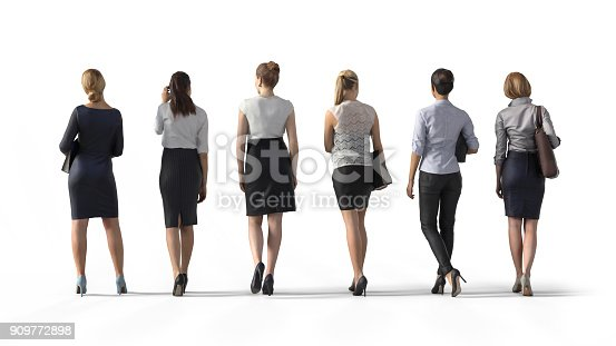 istock Back view of standing business woman. Illustration on white background, 3d rendering isolated. 909772898