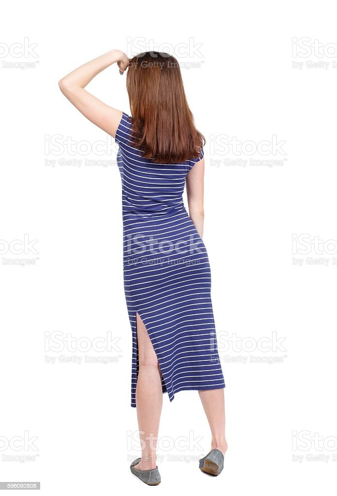 back view of standing young beautiful  woman. royalty-free stock photo