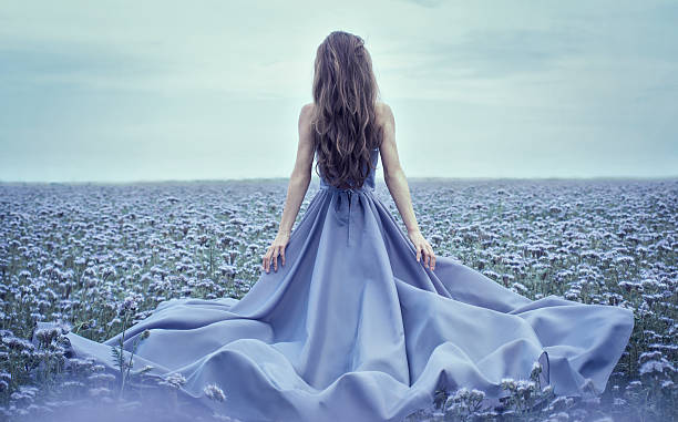 Back view of standing young woman in blue dress stock photo