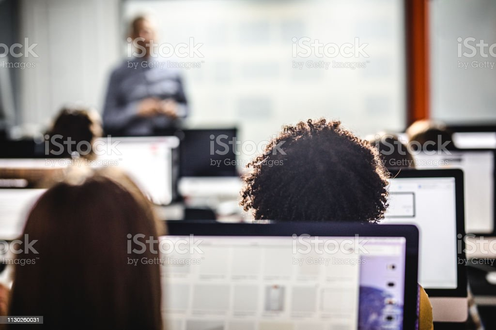 Back view of students attending a class at computer lab. stock photo