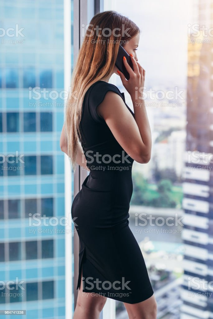 Back view of successful businesswoman having phone conversation looking out the window with cityscape view royalty-free stock photo