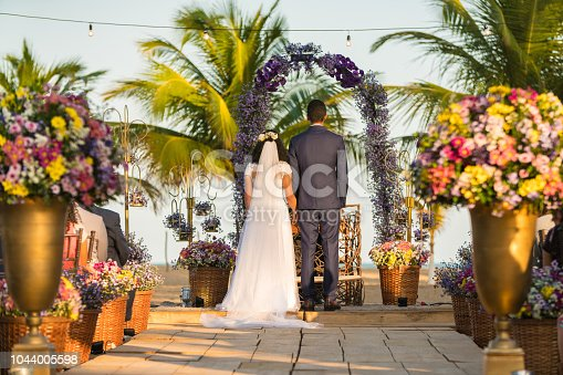 Rear View, Summer, Wedding, Beach, Altar