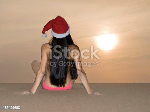 istock Back view of the girl in Santa's hat 187494680