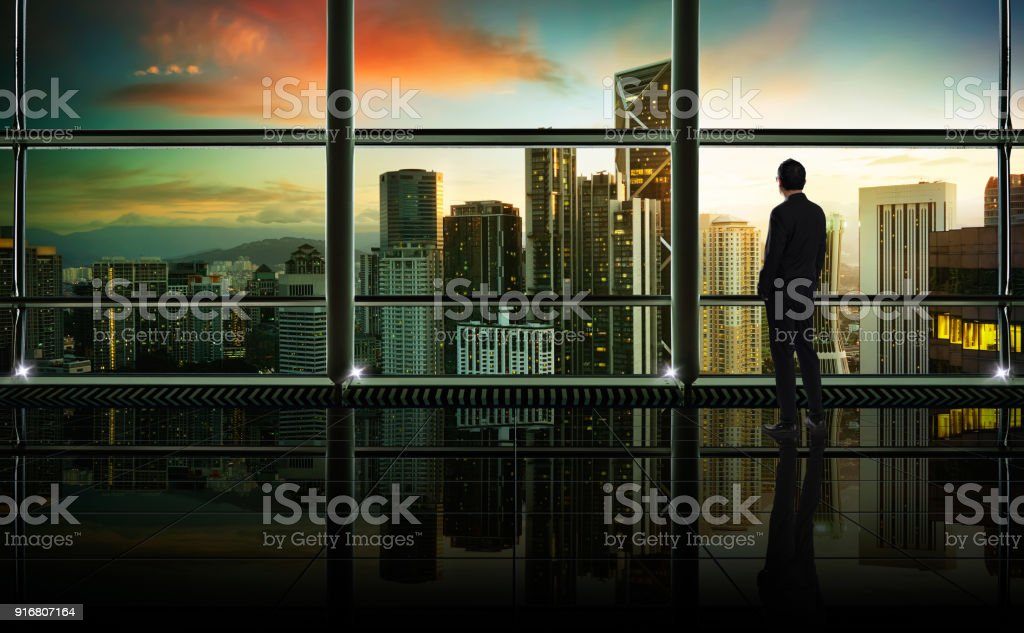 Back view of thoughtful businessman looking through window at big...