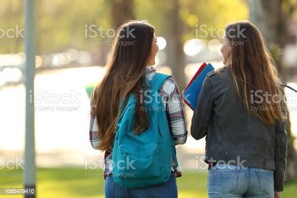 Back view of two students walking and talking picture id1055479410?b=1&k=6&m=1055479410&s=612x612&h=onacvaksdq6048tgdfrosxlikw8kjhwyyfwcxa6gjo8=