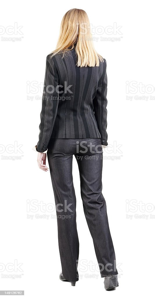 back view of walking business woman. royalty-free stock photo