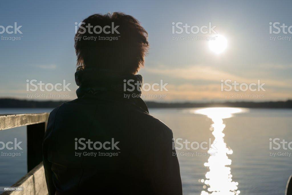 Vista posterior de la mujer sentada y mirando la puesta del sol foto de stock libre de derechos