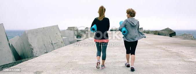 istock Back view of women walking by sea pier 1094412090