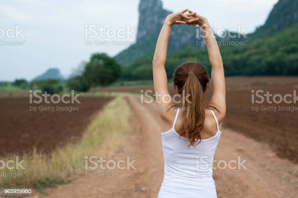 Back View Of Young Asian Fitness Woman Are Stretching Muscles Before Exercise Running And Jogging On Mountain Road The Concept Of Health And Fitness - Fotografias de stock e mais imagens de Adulto