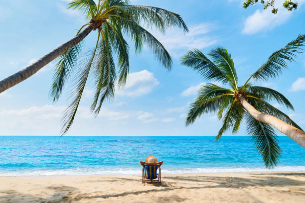 Rückansicht der jungen schönen Frau sonnen sich und entspannen Sie am tropischen Strand allein – Foto