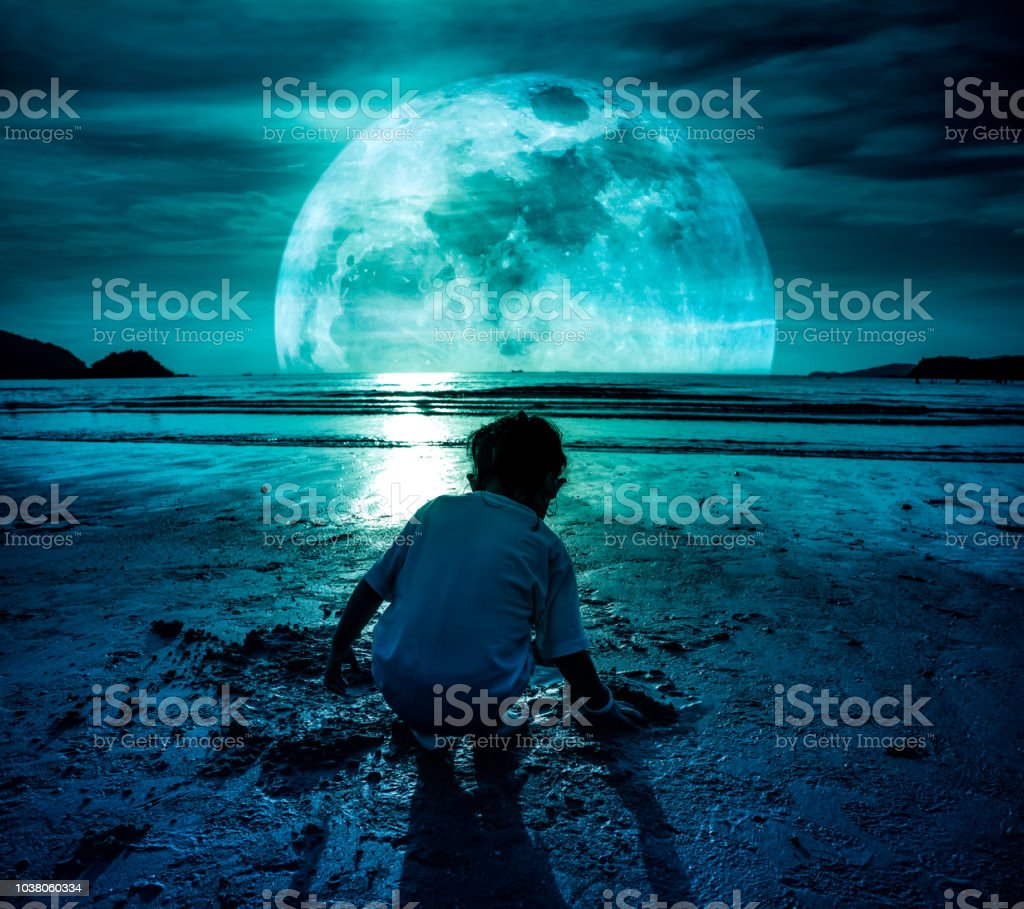 Back view of young girl playing sand and looking for sea animals on beach. stock photo