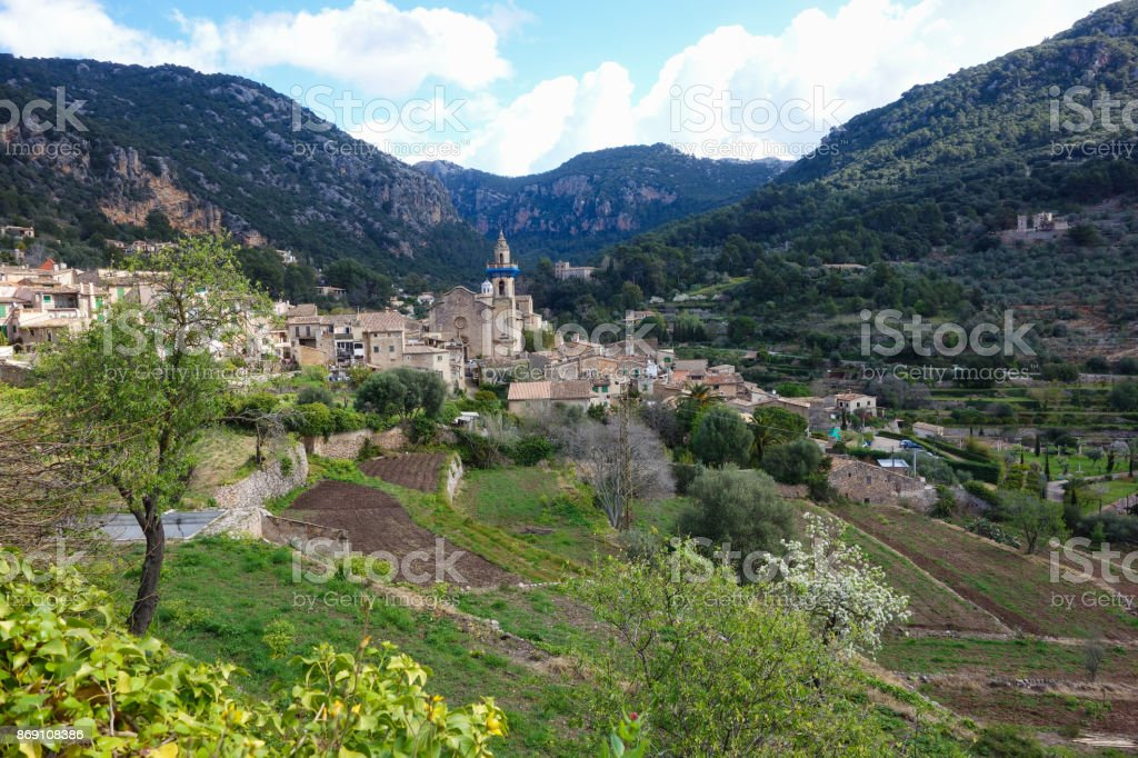 Back view on Valldemosa in Majorca stock photo