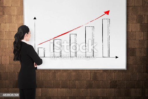 istock Back view young woman with white board 483808268