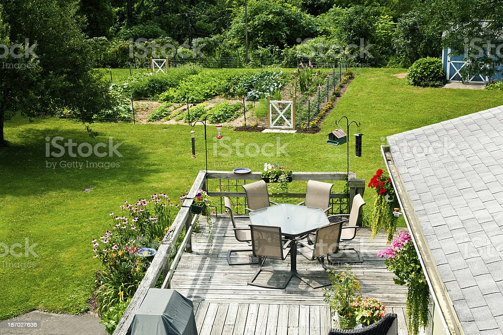 Back yard and deck stock photo