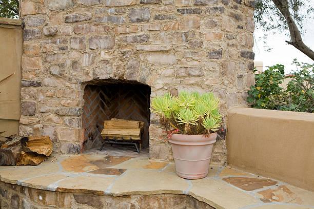 Back Yard Fireplace stock photo