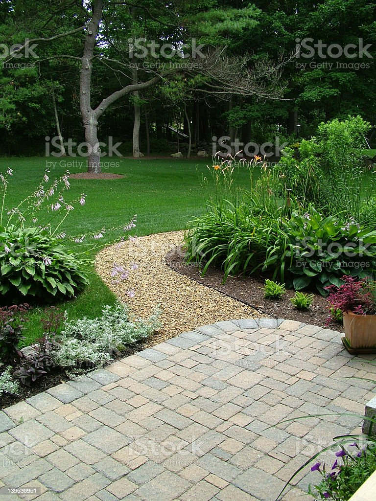 Back yard landscaping and patio stock photo