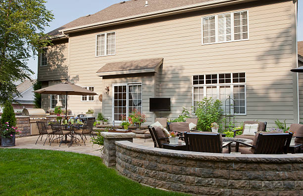 Back Yard Patio and Landscaping stock photo