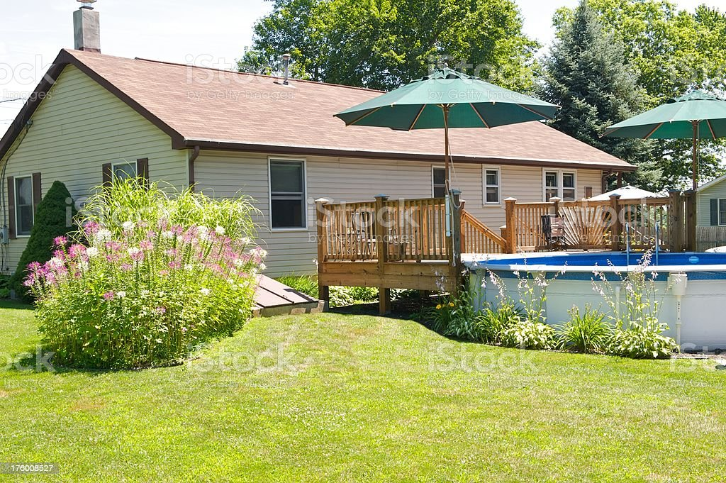 back yard with swimming pool and deck.